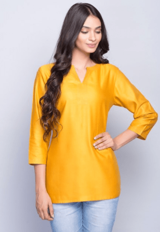 15ce1ed7a62ea1 Add to Wishlist. Clemonte utsav collection   Tussar silk yellow solid  kurti. Rs 990.00