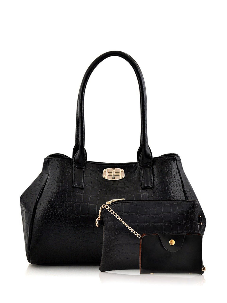 Clemonte croc tote bag - Black