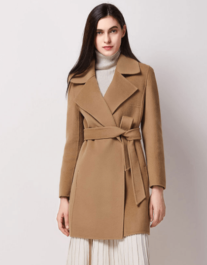 Clemonte Long woolen winter cashmere overcoat - Camel brown