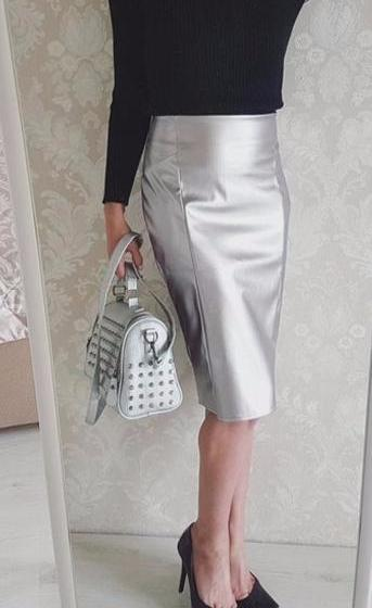 347faa305e9 Clemonte faux leather pencil skirt - Metallic silver