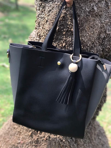 Clemonte oversized leather tote bag - Black
