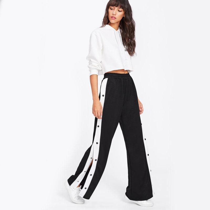 Clemonte Black Side striped Wide Leg Pants
