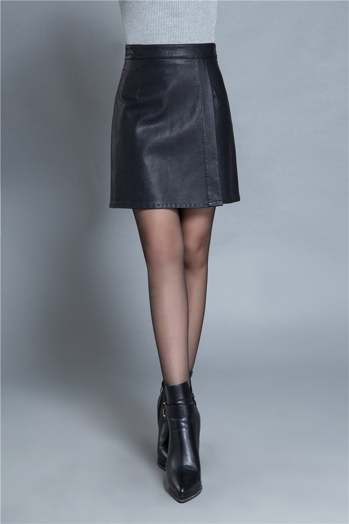 Clemonte faux leather mini skirt - black
