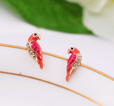 Clemonte red crystal bird stud earrings