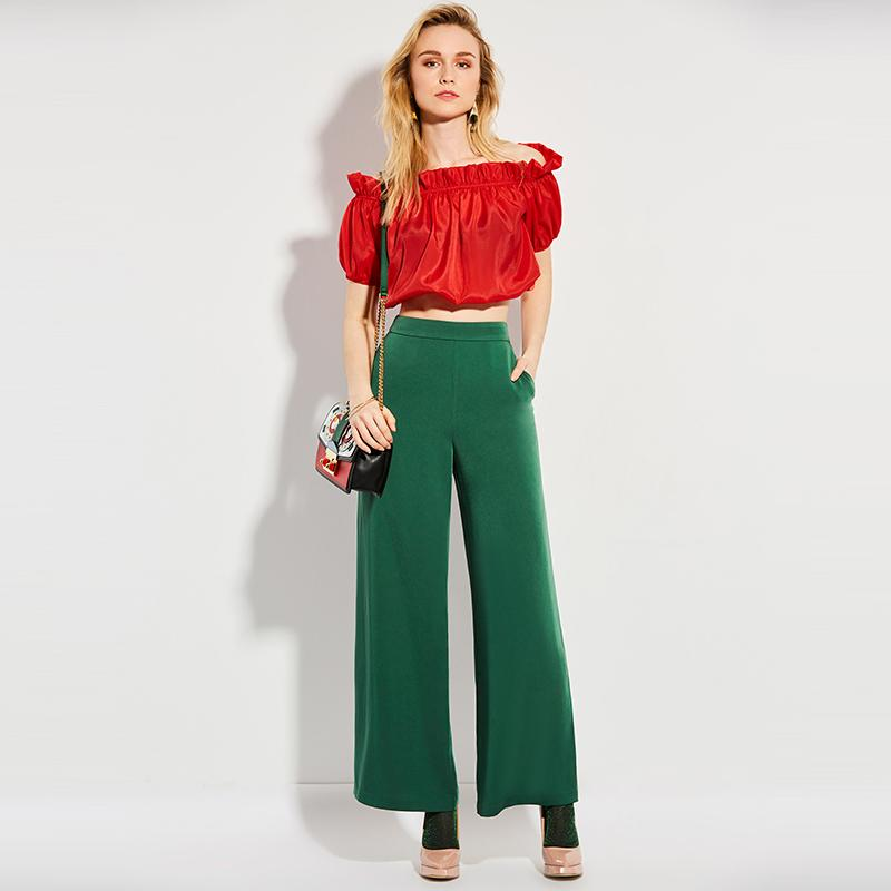 Clemonte High waist wide leg trousers - green
