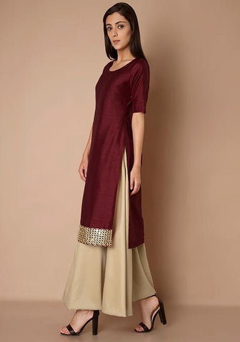 1cbec7d9b48712 Add to Wishlist. Clemonte utsav collection  Mirror Lace Silk Tunic Wine. Rs  1