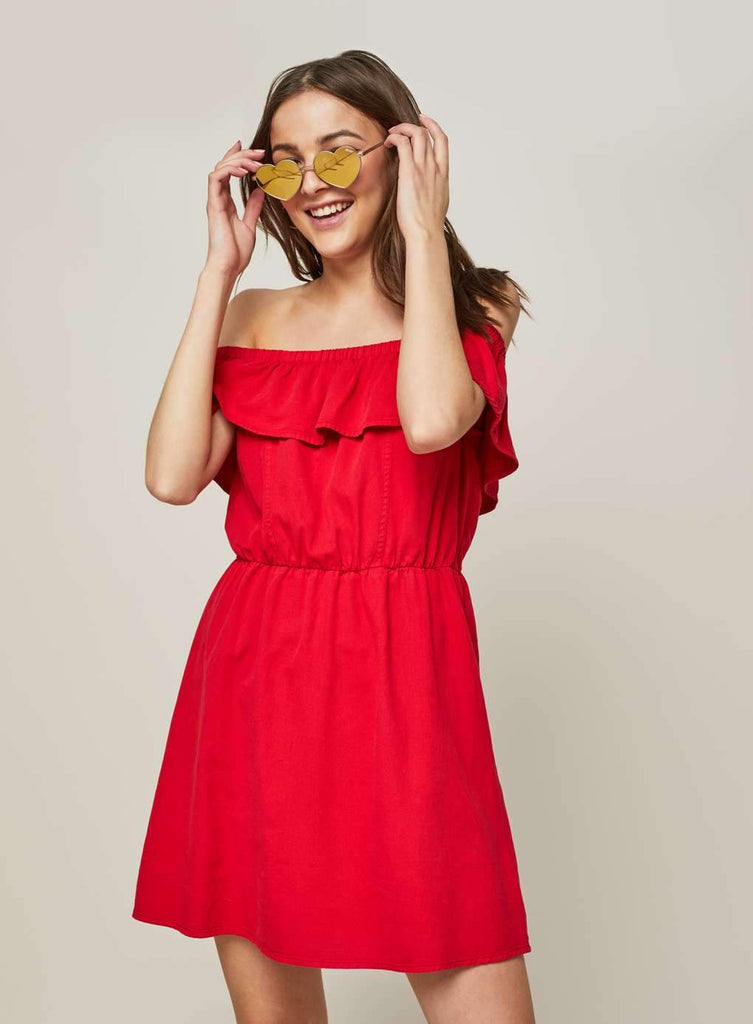 Clemonte Red Frill Bardot dress
