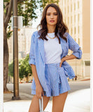Clemonte Blue Pinstripe Blazer and shorts