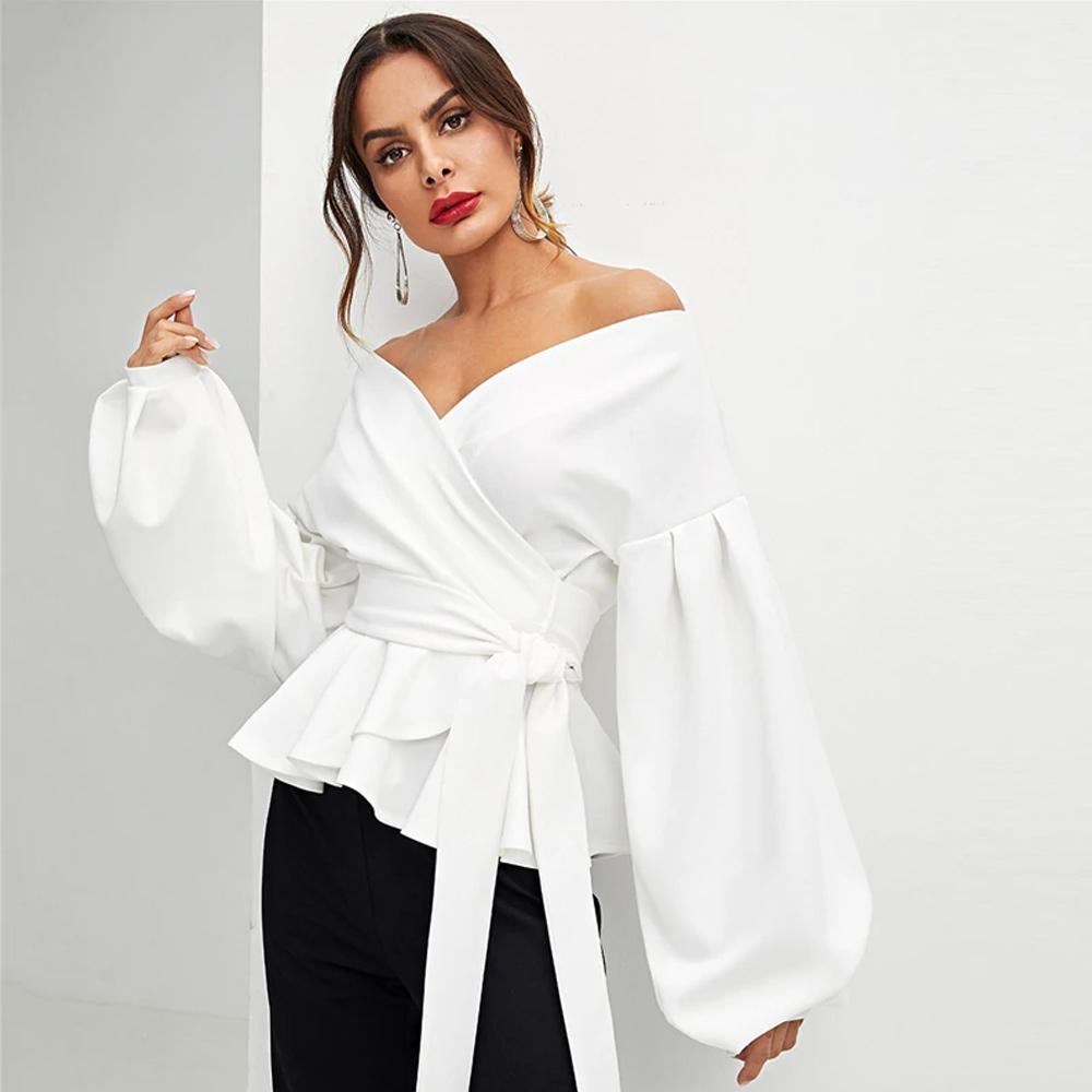 Clemonte Off shoulder white Lantern Sleeve Peplum Top