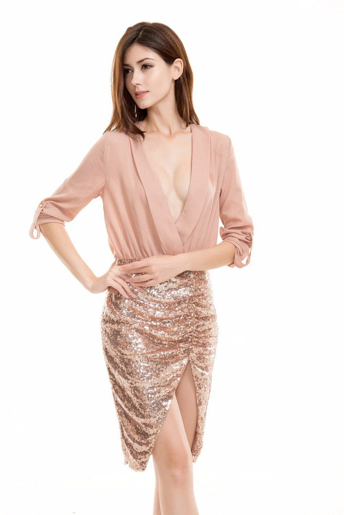 Clemonte Champagne Pink Sequin bodycon dress
