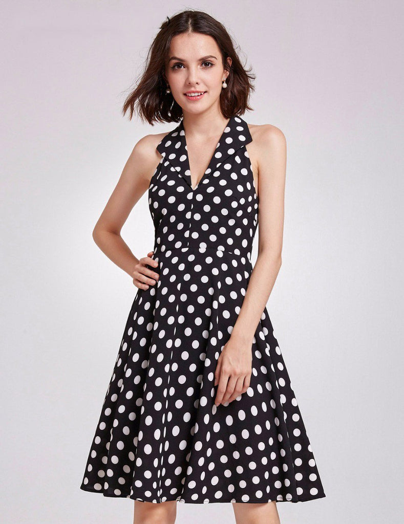 Clemonte Summer Retro polka Dot print black dress