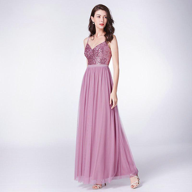 Clemonte Pink V neck sequins Chiffon gown