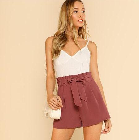 Clemonte High waist  shorts - Dusty Rose
