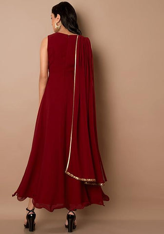 acd56762fad28e Add to Wishlist. Clemonte utsav collection  Maroon Embellished Waist  Dupatta Drape Tunic