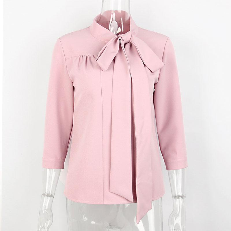 768aefddf93a10 Clemonte pussy bow tie blouse - pink. Double click for enlarge