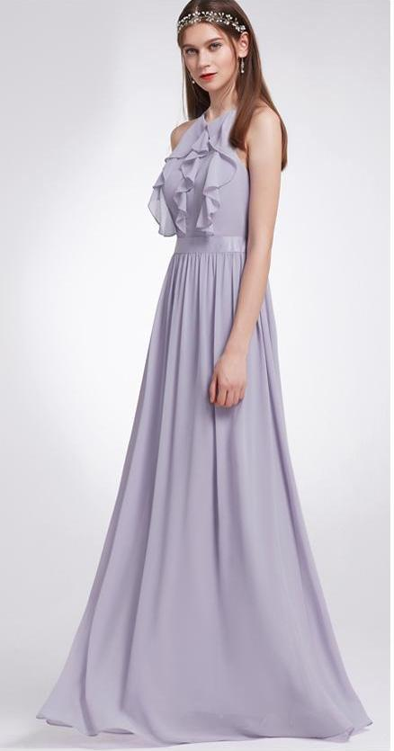 Clemonte Long Halter Ruffles chiffon gown - Lavender