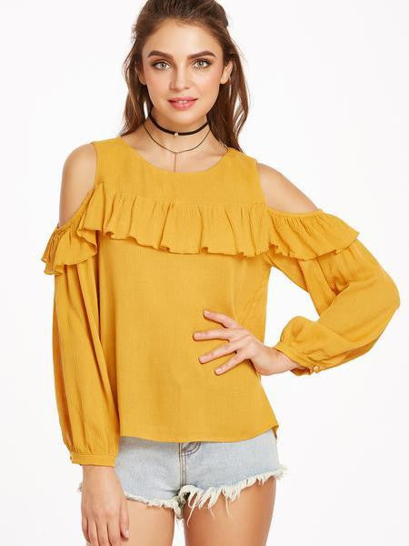 Clemonte Yellow Cold Shoulder Ruffle Trim Buttoned Cuff Crinkle Top