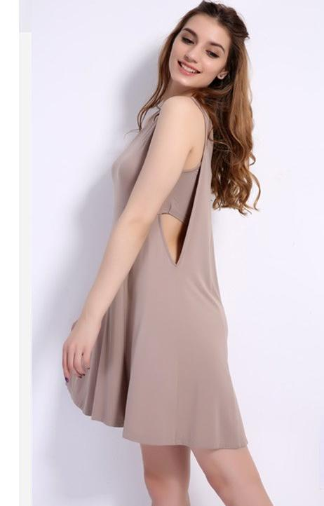 Clemonte beige cut out waist dress