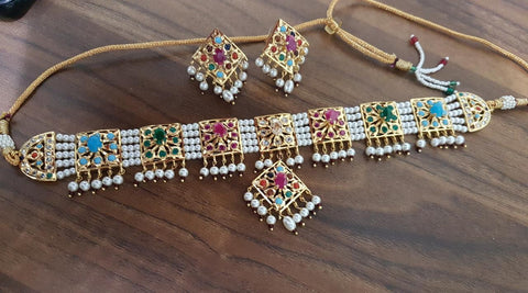 Pearl choker navratan stones necklace with earrings