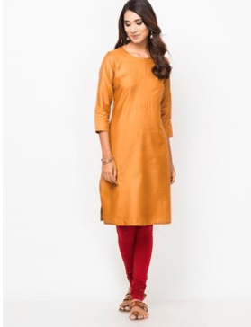 Clemonte utsav collection :Royal orange silk straight long kurta for women