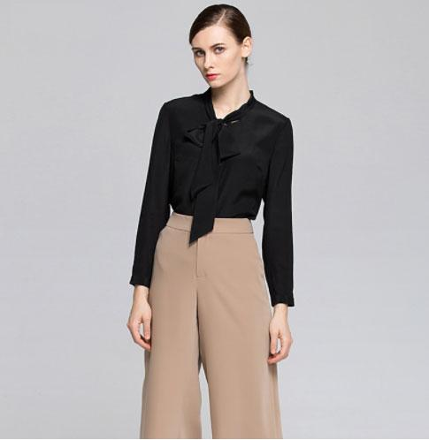 Clemonte Black pussy bow tie blouse