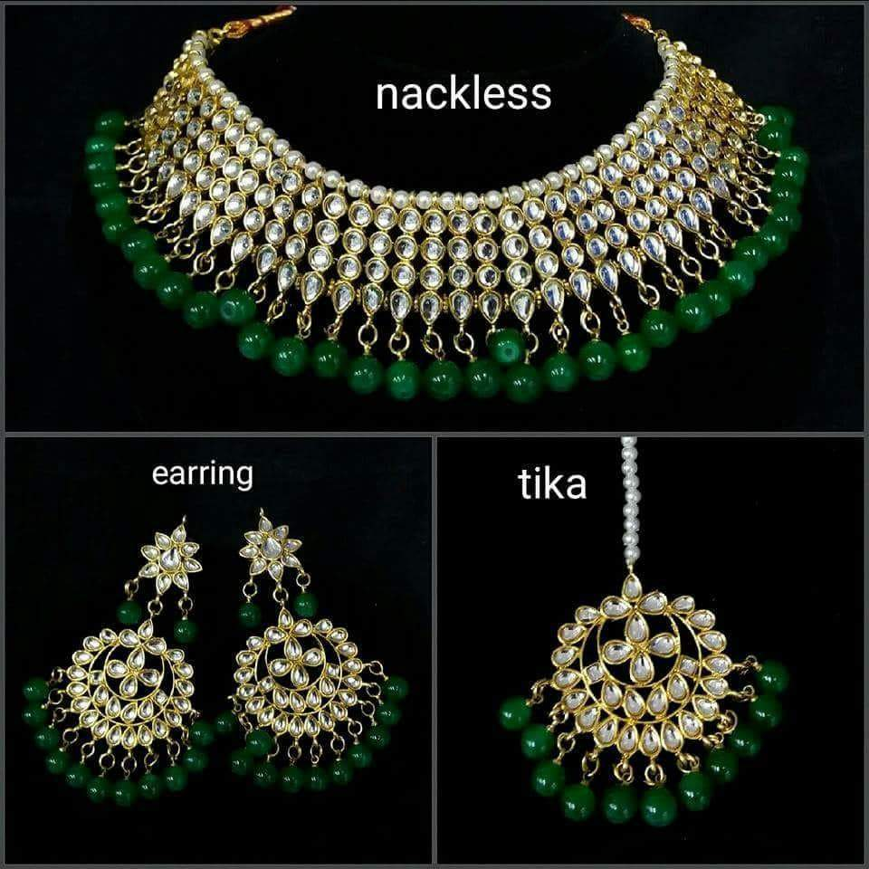 Wedding Bridal Jewellery Choker Kundan Necklace Set With Color Beads