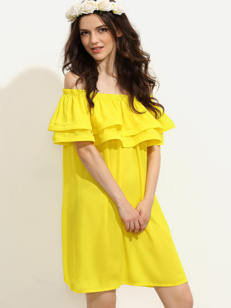 Clemonte Yellow Ruffle Off The Shoulder Shift Dress