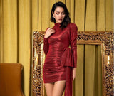 Clemonte High collar puff sleeve bodycon dress - Metallic Red