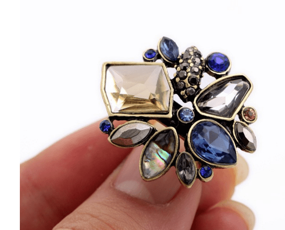 Clemonte Crystal Flower cluster vintage cocktail ring for women