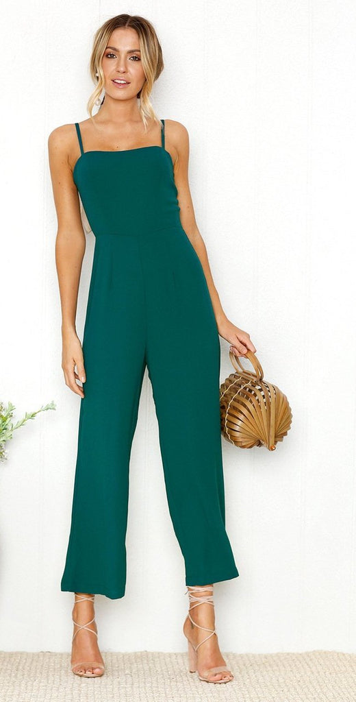 Clemonte green Spaghetti strap jumpsuit