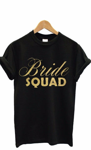 BeCivil bachelorette party Bride Squad tshirt in Black