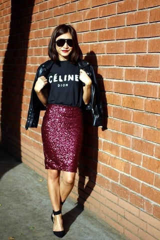 Clemonte sequin pencil skirt - Red
