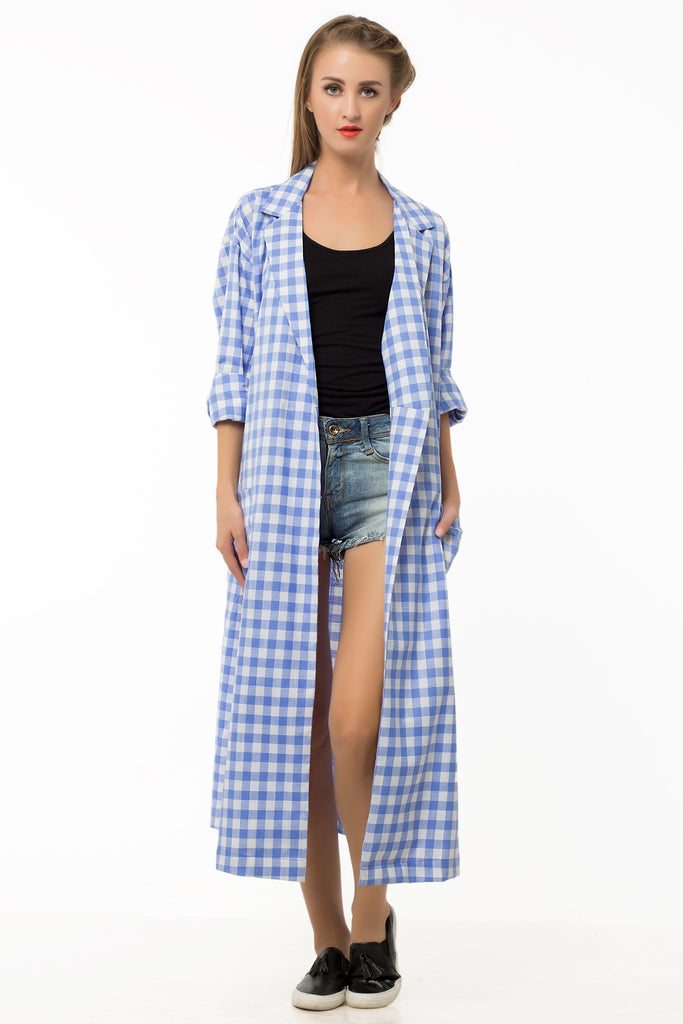 Midnight Owl xClemonte airy blue plaid over shirt