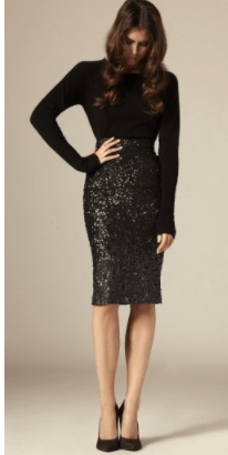 Clemonte sequin pencil skirt - Black