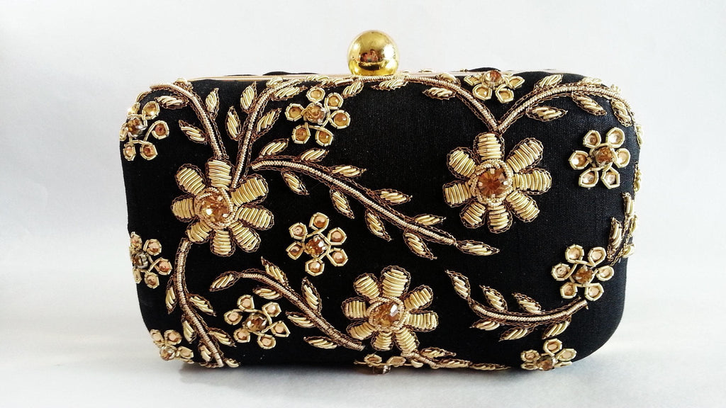 Clemonte Hand embroidered Black Zardozi clutch