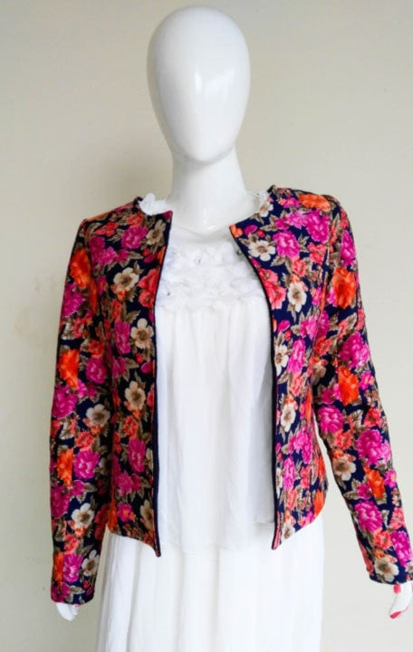 Clemonte floral woollen shrug  multicolor blue for ladies