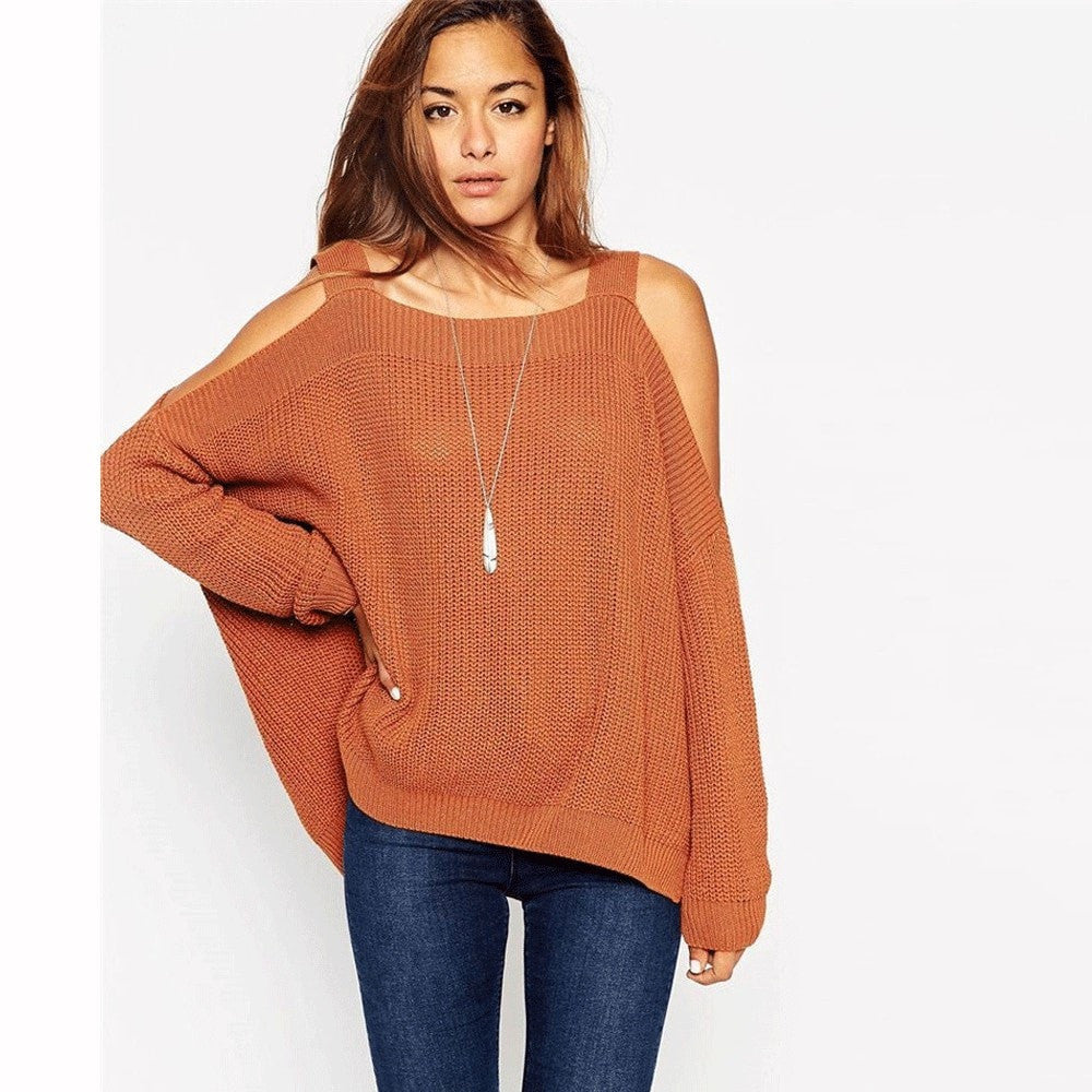 Clemonte cold shoulder batwing sleeve knitted sweater - rust brown