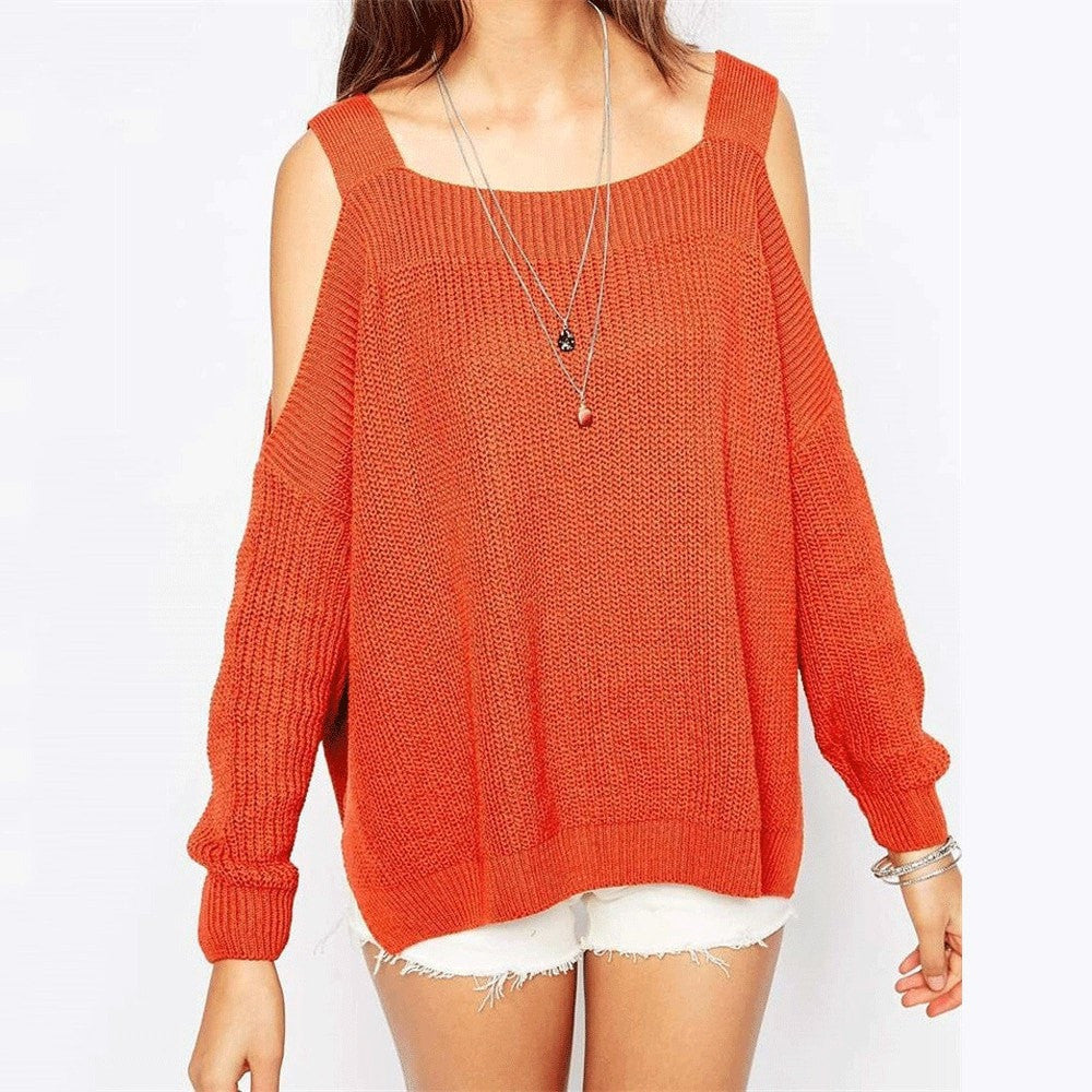 Clemonte cold shoulder batwing sleeve knitted sweater - orange