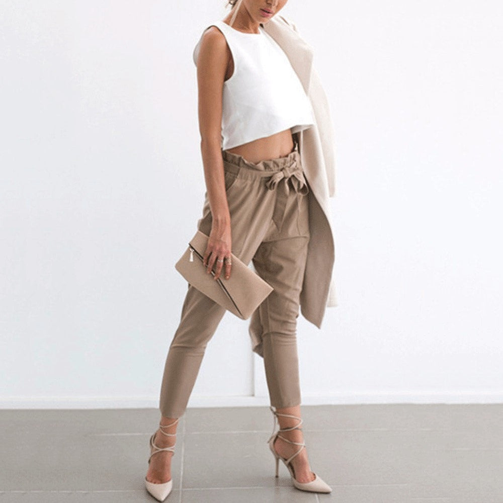 Clemonte High waist ankle grazing trousers with tie up sash - beige