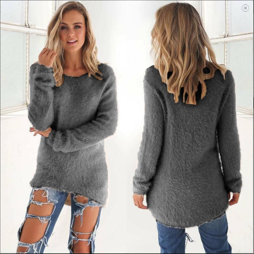 Clemonte warm fluff long sleeve pullover - grey