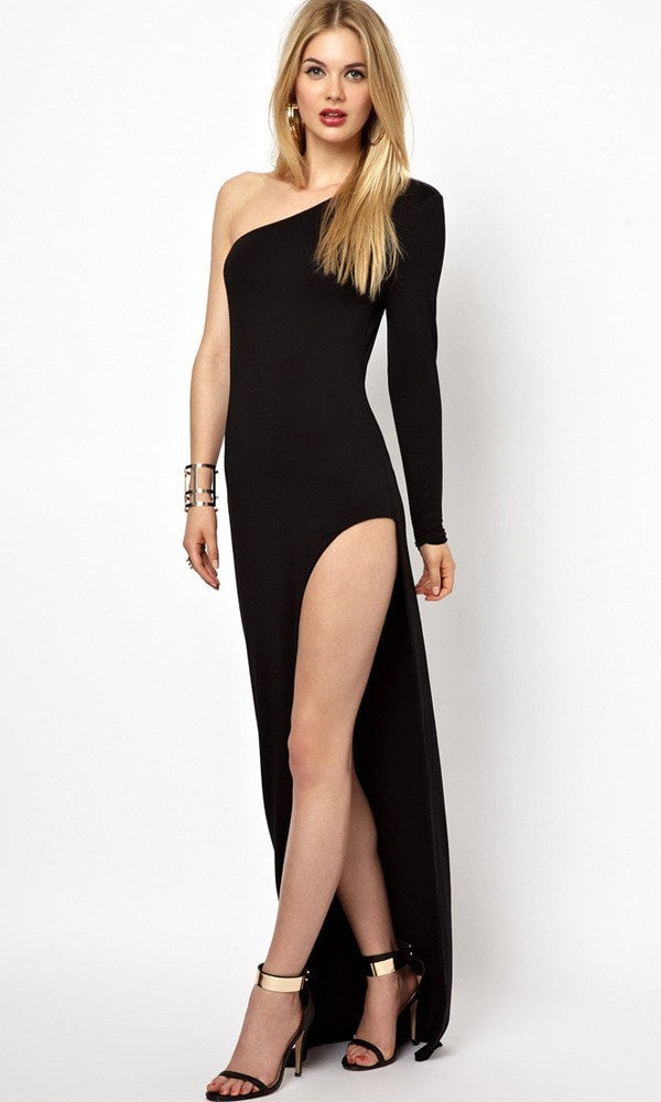 Clemonte one shoulder thigh high slit dress
