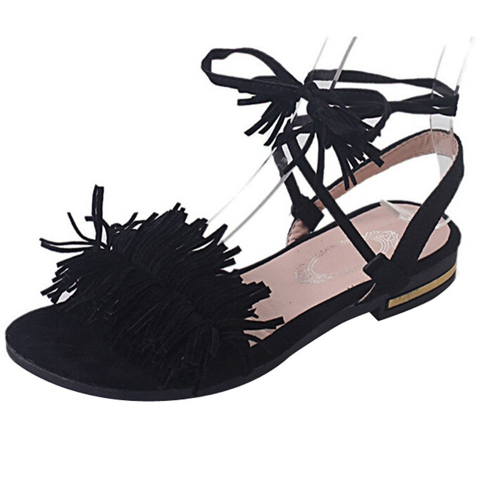 Clemonte Black tie up sandals