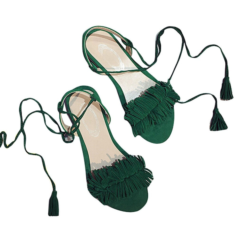 Clemonte emerald green tie up sandals