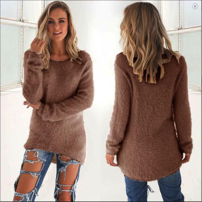 Clemonte warm fluff long sleeve pullover - chocolate