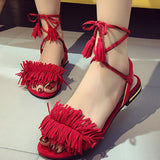 Clemonte cherry red tie up sandals