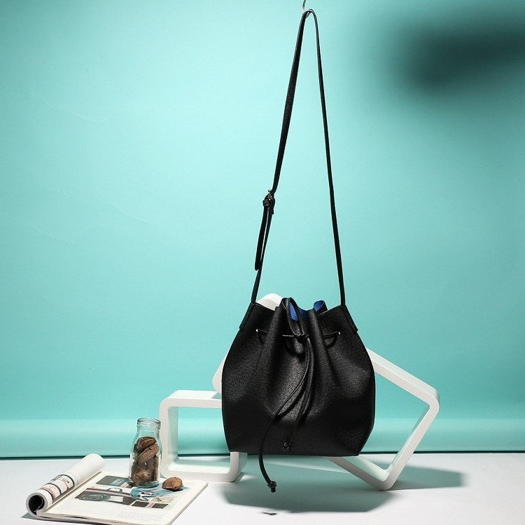 Clemonte Black bucket bag with royal blue