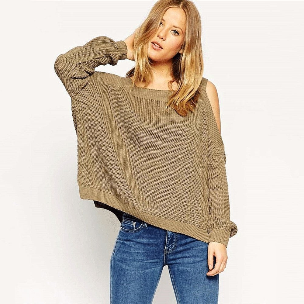 Clemonte cold shoulder batwing sleeve knitted sweater - olive grey