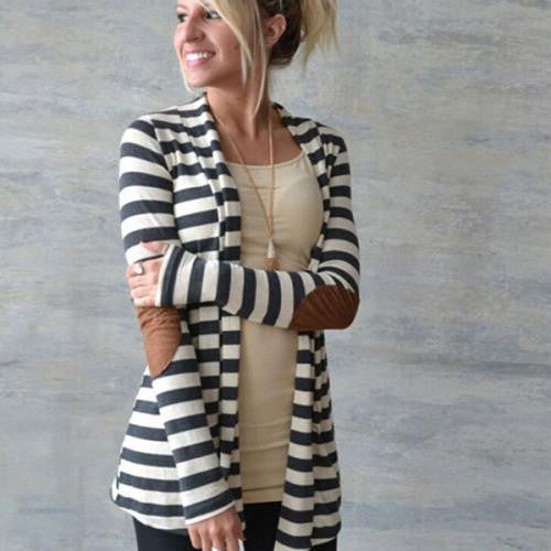 Clemonte Striped Long Shrug- Black and White
