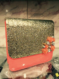 Clemonte Shimmer Gold Ladies clutch : Peach
