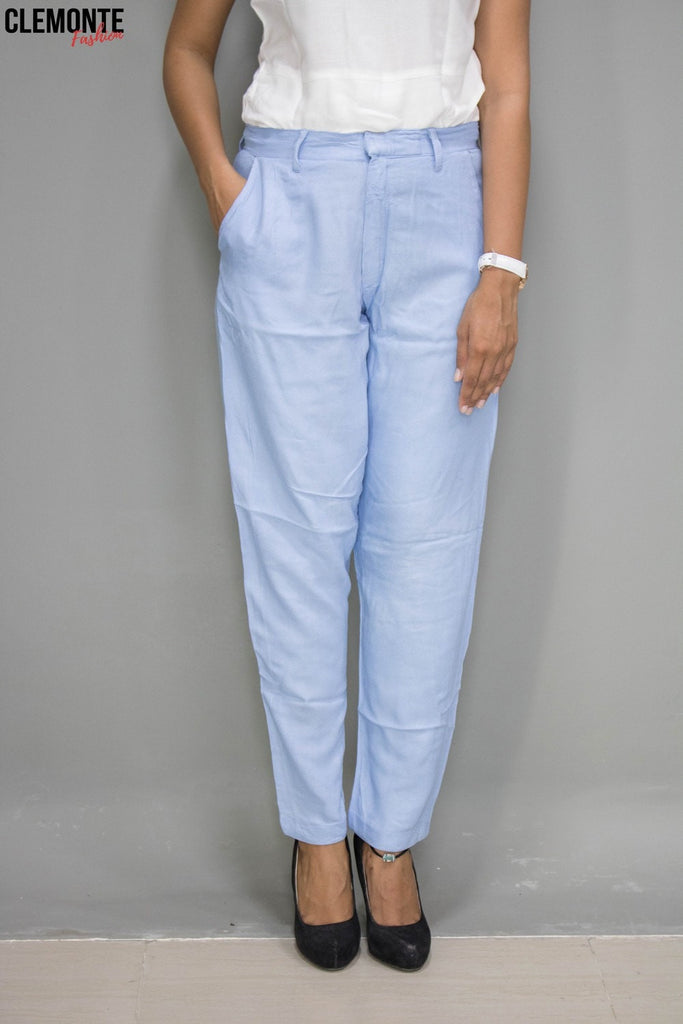 Clemonte ice blue Ankle Grazer Cigarette Trousers in Crepe